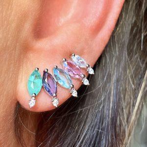 Brinco Ear Cuff Navetes Cristais Coloridos | Lanarée Acessórios