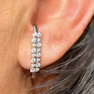 Brinco Ear Hook Duas Fileiras Zircônias | Lanarée Acessórios