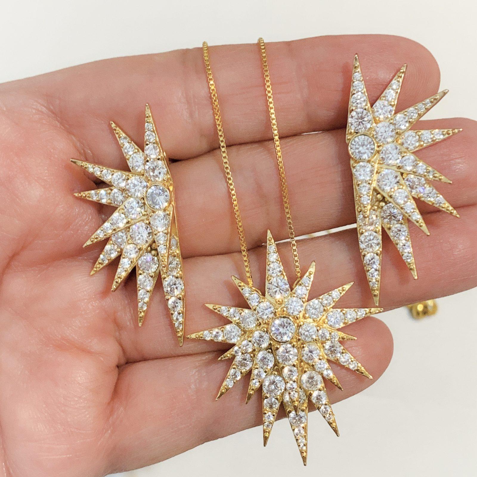 Conjunto Star Luxo Dourado Semijoia | Lanarée Acessórios