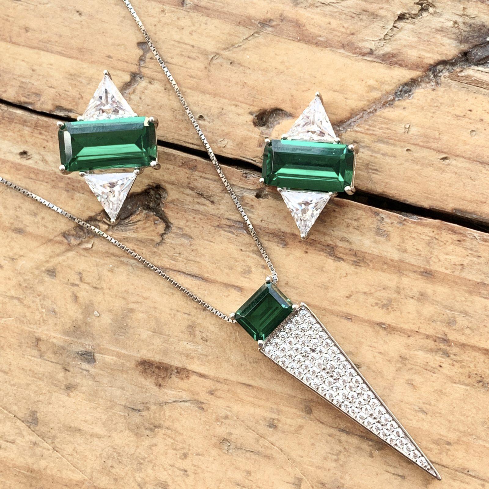 Conjunto Retângulo Esmeralda de Prata 925 | Lanarée Acessórios