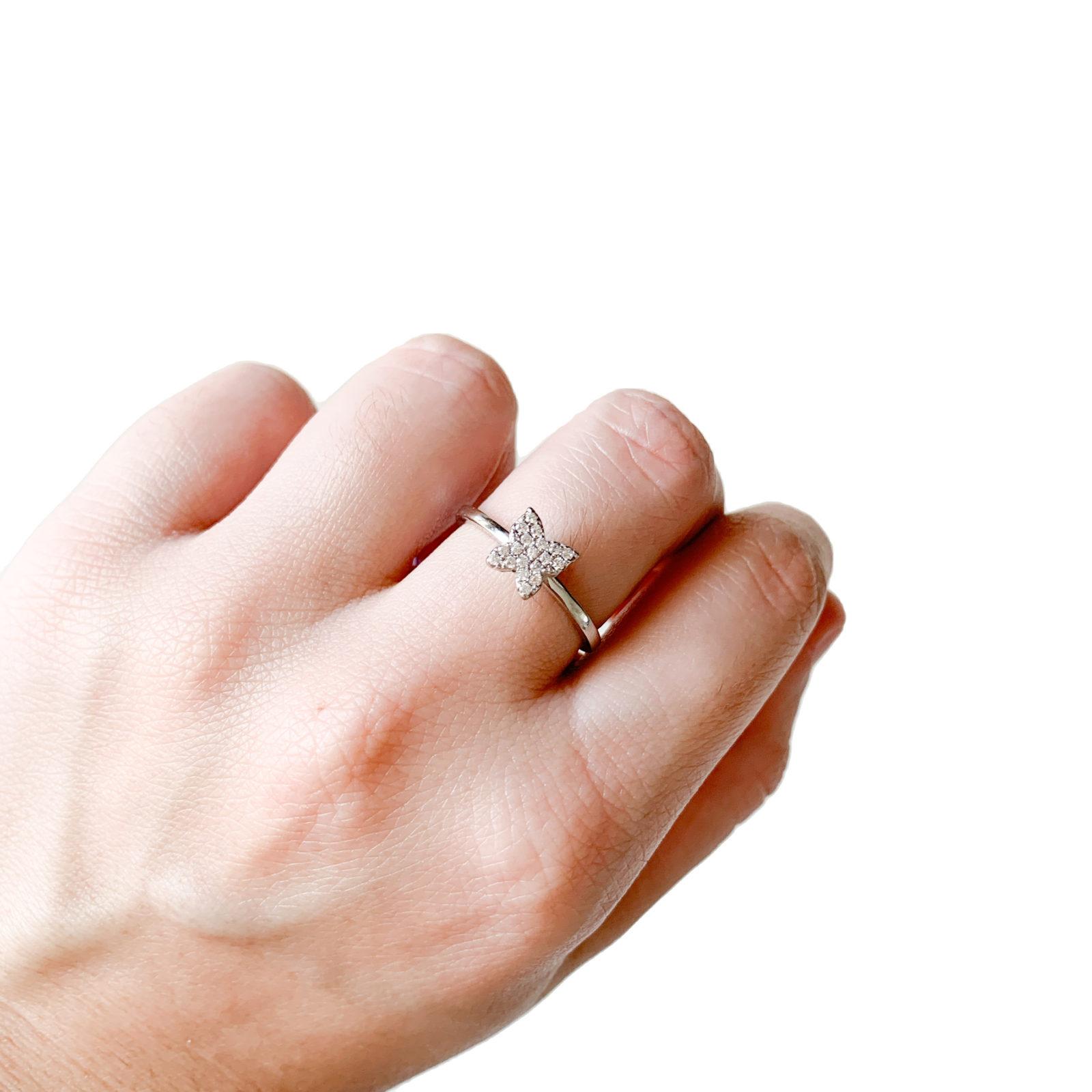 Anel Borboleta Cravação Pavê Prata 925   Lanarée Acessórios