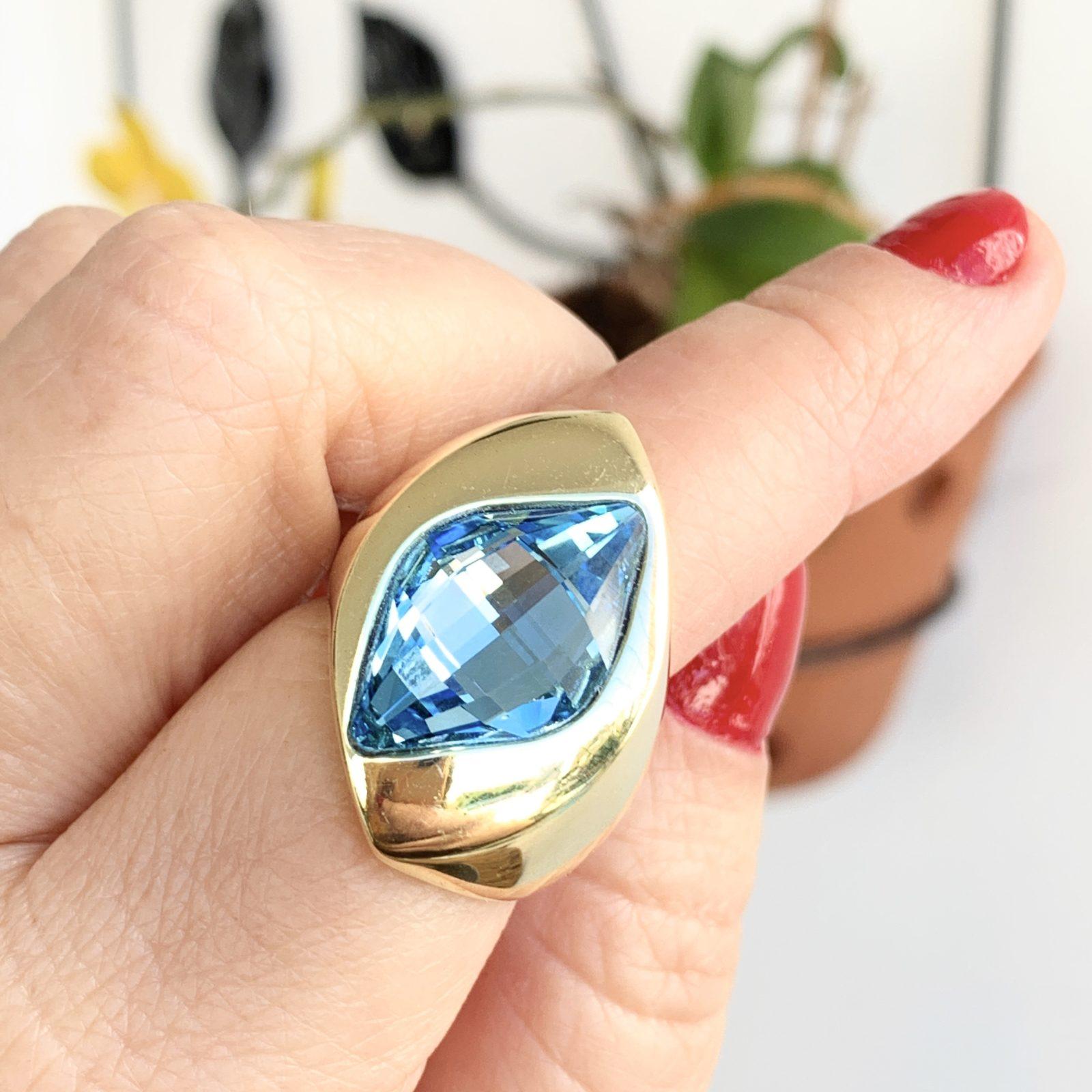Anel Cristal Aquamarine Dourado | Lanarée Acessórios