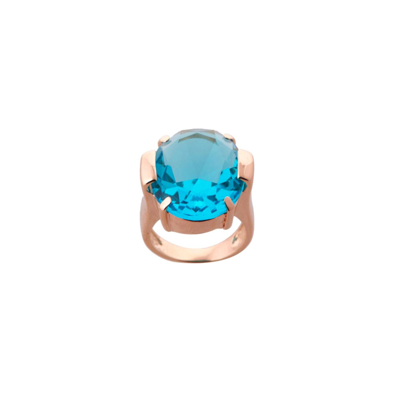 Anel Cristal Azul Oval Banho Ouro   Lanarée Acessórios