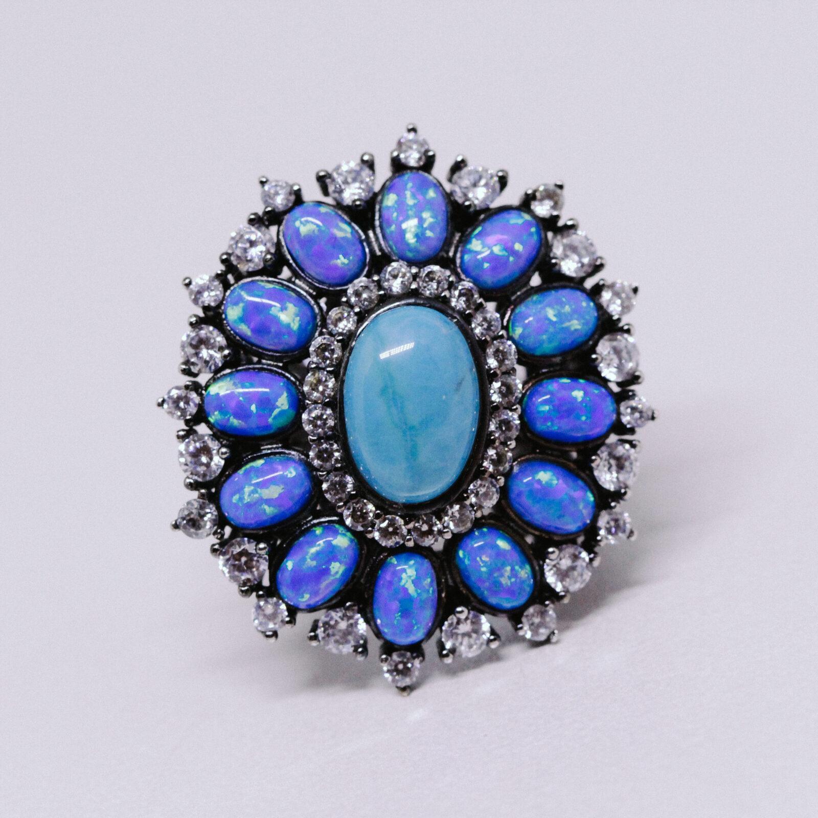 Anel Turquesa Natural e Opala Azul   Lanarée Acessórios