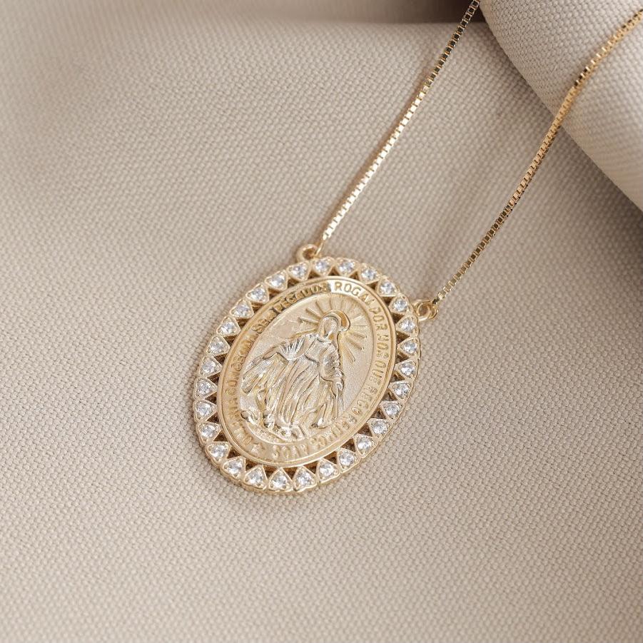 Colar Nossa Senhora das Graças de Prata 925 (dourado) | Lanarée Acessórios