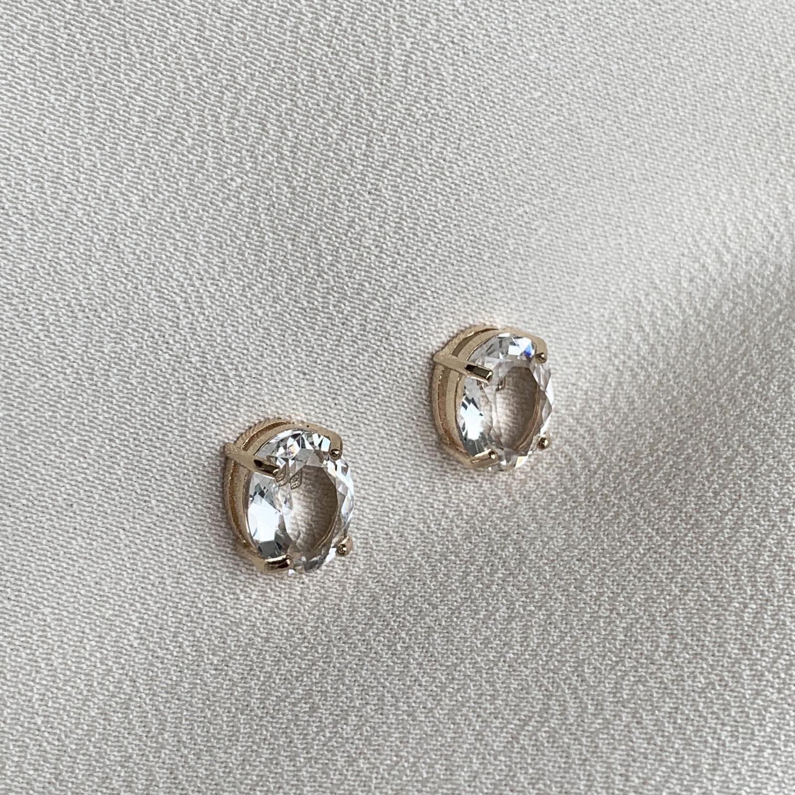 Brinco Cristal Oval Transparente | Lanarée Acessórios