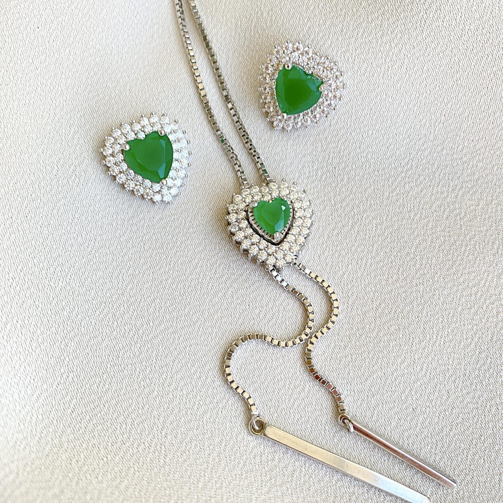 Conjunto Cristal Esmeralda de Prata 925 | Lanarée Acessórios