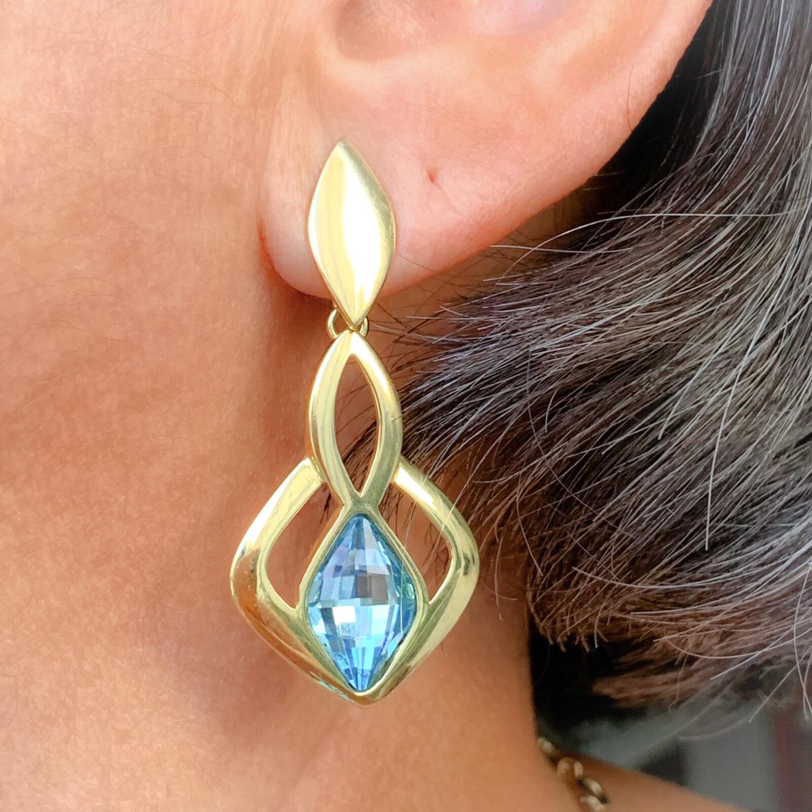 Brinco Cristal Aquamarine Dourado | Lanarée Acessórios