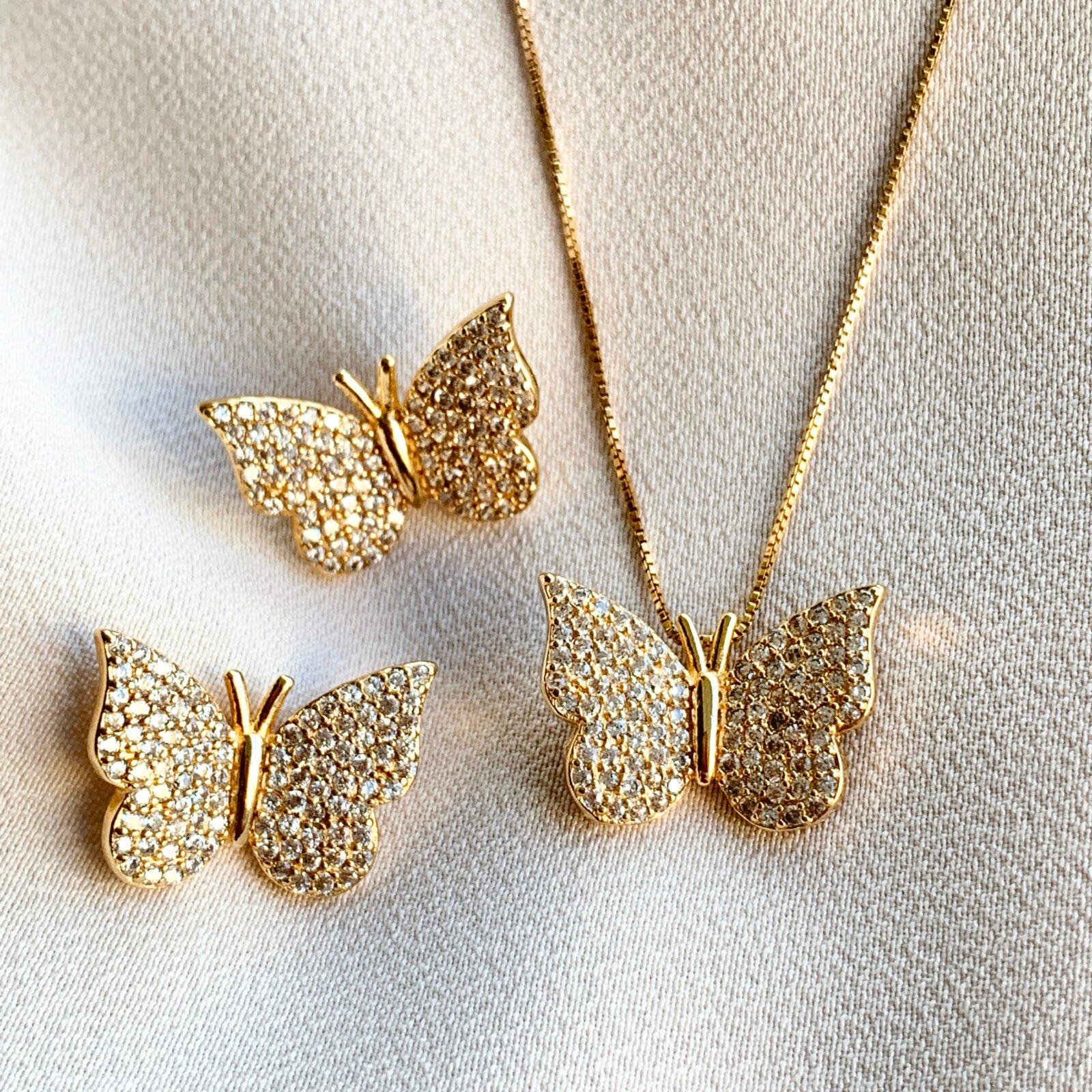 Conjunto Borboleta Dourada de Prata 925 | Lanarée Acessórios